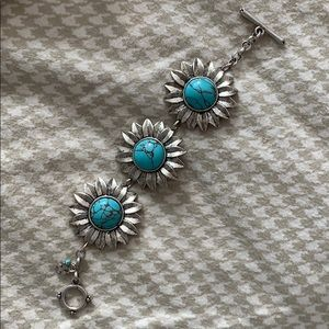 Silver & Turquoise Lucky Brand Bracelet